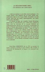 Le décadentisme grec, une esthétique de la déformation - 4ème de couverture - Format classique