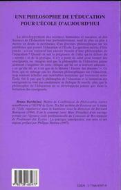 Une Philosophie Pour L'Ecole D'Aujourd'Hui - 4ème de couverture - Format classique
