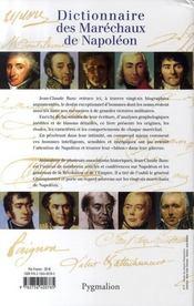 Dictionnaire des maréchaux de napoléon - 4ème de couverture - Format classique