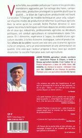 Les Sillons De La Colere ; La Malbouffe N'Est Pas Une Fatalite - 4ème de couverture - Format classique