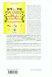 Plantes medicinales de nos grands-meres - 4ème de couverture - Format classique