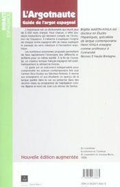 Argotnaute Guide De L Argot Espagnol - 4ème de couverture - Format classique