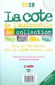 La cote de l'automobile de collection (édition 2001) - Intérieur - Format classique