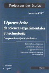 L'Epreuve Ecrite De Sciences Experimentales Et Technologie Composantes Majeure Et Mineure - Intérieur - Format classique