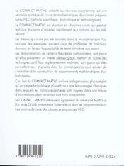 Compact Maths Hec Options Scientifique Et Economique Adapte A La Reforme Du Concours 97 - 4ème de couverture - Format classique