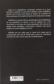 Worter Le Vocabulaire Allemand - 4ème de couverture - Format classique