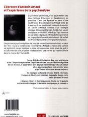 L'épreuve d'Antonin Artaud et l'expérience de la psychanalyse - 4ème de couverture - Format classique