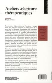 Ateliers d'écriture thérapeutique - 4ème de couverture - Format classique