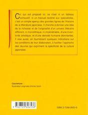Histoire De La Litterature Japonaise - 4ème de couverture - Format classique