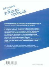 Methodes Des Sciences Sociales - 4ème de couverture - Format classique