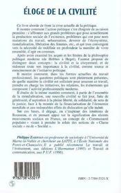 Eloge De La Civilite ; Critique Du Citoyen Moderne - 4ème de couverture - Format classique