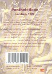 Pantheisticon - 4ème de couverture - Format classique