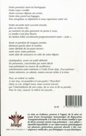 Syndrome Du Gisant - 4ème de couverture - Format classique