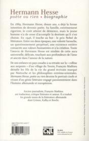 Hermann Hesse, poète ou rien - 4ème de couverture - Format classique