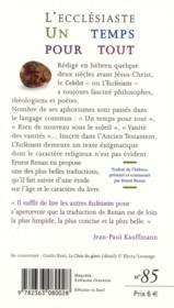 Un temps pour tout ; l'Ecclésiaste - 4ème de couverture - Format classique
