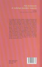 Petit Dictionnaire De Mythologie Populaire Roumaine - 4ème de couverture - Format classique