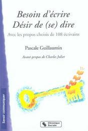 Besoin D'Ecrire - Desir De (Se) Dire - Intérieur - Format classique