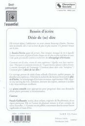 Besoin D'Ecrire - Desir De (Se) Dire - 4ème de couverture - Format classique