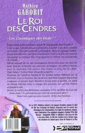 Les chroniques des feals t.3 ; roi des cendres - 4ème de couverture - Format classique