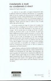Condamnes A Mort Ou Condamnes A Vivre ? ; Autour De L'Arret Peruche - 4ème de couverture - Format classique