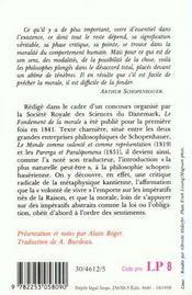 Le Fondement De La Morale - 4ème de couverture - Format classique