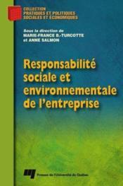 Responsabilité sociale et environnementale de l'entreprise - Couverture - Format classique