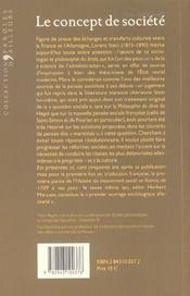Le Concept De Societe - 4ème de couverture - Format classique
