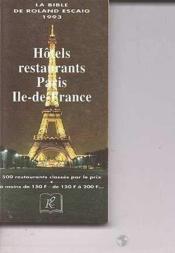 Bible De Roland Escaig 1993 Paris - Ile De - Couverture - Format classique