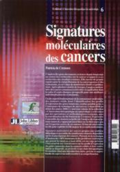 Signatures moléculaires des cancers - 4ème de couverture - Format classique
