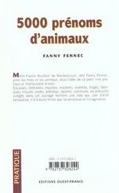 5000 prenoms d'animaux - 4ème de couverture - Format classique