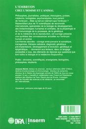 L'embryon chez l'homme et l'animal - 4ème de couverture - Format classique