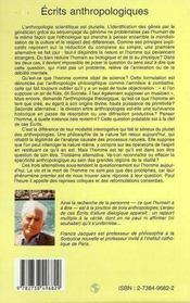 Ecrits Anthropologiques ; Philosophie De L'Esprit Et Cognition - 4ème de couverture - Format classique