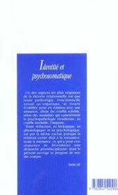 Identité et psychosomatique - 4ème de couverture - Format classique