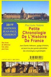 Petite chronologie de l'histoire de France - 4ème de couverture - Format classique