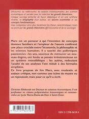Karl Marx Vie Oeuvres Concepts Les Grands Theoriciens Sciences Economiques Et Sociales - 4ème de couverture - Format classique