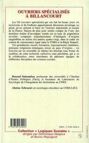 Ouvriers Specialises A Billancourt - 4ème de couverture - Format classique