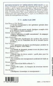 Renseignement Et Operations Speciales - 4ème de couverture - Format classique