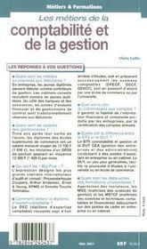 Les Metiers De Comptabilite Et De Gestion ; Edition 2001 - 4ème de couverture - Format classique