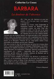 Barbara La Douleur De L'Absence - 4ème de couverture - Format classique
