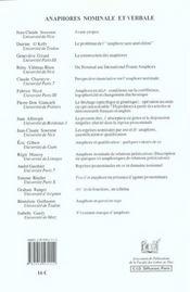 Anaphores Nominale Et Verbale - 4ème de couverture - Format classique
