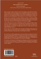 Philosophie de l'esprit - 4ème de couverture - Format classique