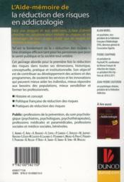 AIDE-MEMOIRE ; l'aide-mémoire de la réduction des risques en addictologie en 22 fiches - 4ème de couverture - Format classique