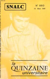 La Quinzaine Universitaire N°860 - Couverture - Format classique