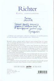 Richter - Ecrits, Conversations - 4ème de couverture - Format classique