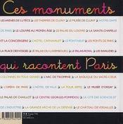 Ces monuments racontent paris - 4ème de couverture - Format classique