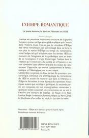 L' Dipe Romantique. Le Jeune Homme, Le Desir Et L'Histoire En 1830 - 4ème de couverture - Format classique