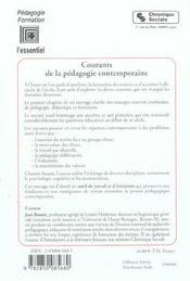 Courants De La Pedagogie Contemporaine - 5e Edition - 4ème de couverture - Format classique