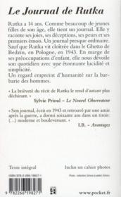 Le journal de Rutka (janvier-avril 1943) ; les juifs et la Pologne - 4ème de couverture - Format classique