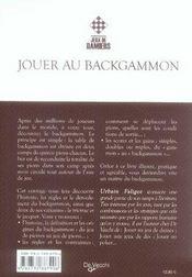 Jouer au backgammon - 4ème de couverture - Format classique