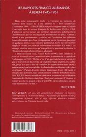 Les Rapports Franco Allemands A Berlin 1945-1961 - 4ème de couverture - Format classique